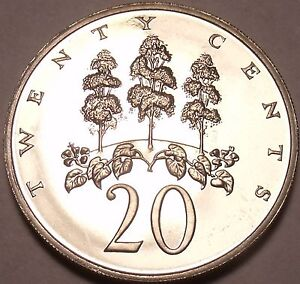 Large Proof Jamaica 1970 20 Cents~only 12,000 Minted~mahoe Tree High Resilience North & Central America