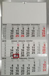 3 Monatskalender, Dreimonatskalender 2019, Wandkalender 2019