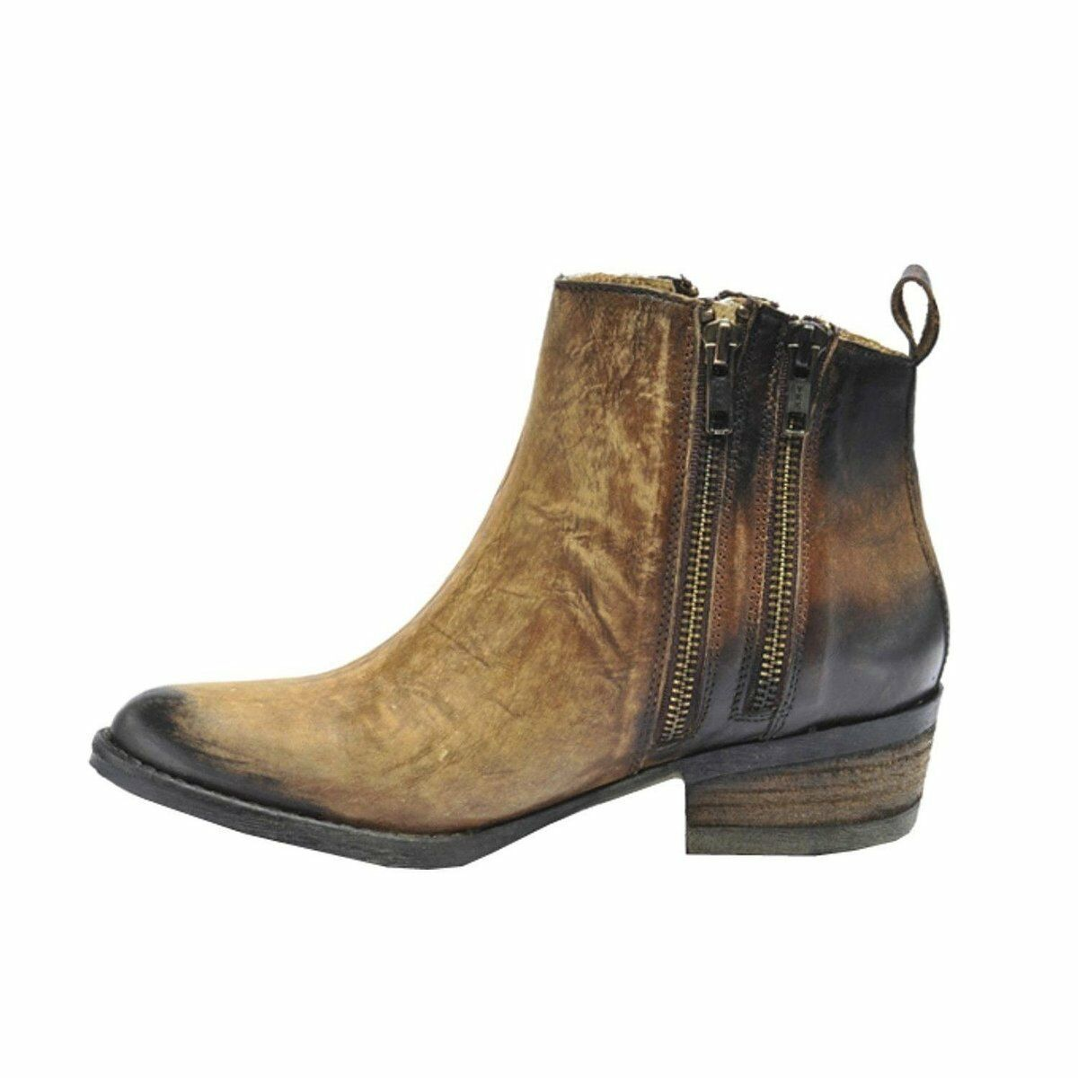 Corral Burnished Brown Double Zipper Bootie Q0025