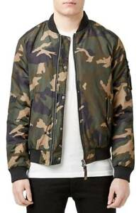 63a92250f Details about #370 TOPMAN Insulated MA-1 Camo Bomber Jacket Size M