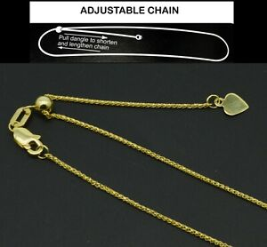 Real-10K-Solid-Yellow-White-Gold-Up-to-24-034-Adjustable-Wheat-Chain-Necklace-1-1mm