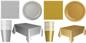 New-Silver-Gold-Party-ware-Set-Plates-Cups-Table-Cover-Christmas-Party-Tableware