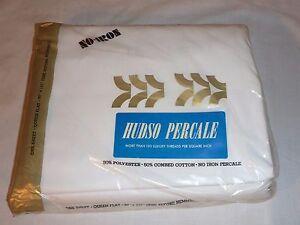 Vtg NOS Hudso Percale White Queen Flat Sheet Dayton Hudsons 50% Poly 50% Cotton