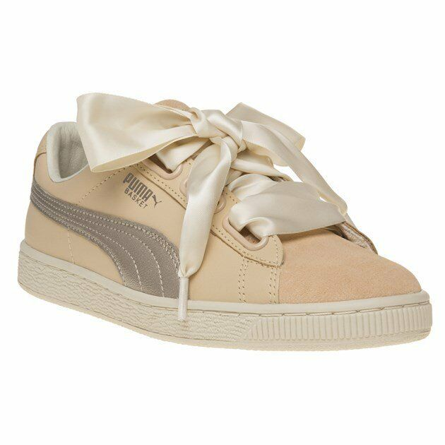 71965a20011 New Womens Puma Natural Nude Basket Heart Up Leather Trainers Court Lace