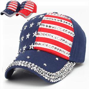 La imagen se está cargando Hombre-Mujer-Bandera-EEUU-Gorra -Beisbol-Snapback-Ajustable- a423cca52ee