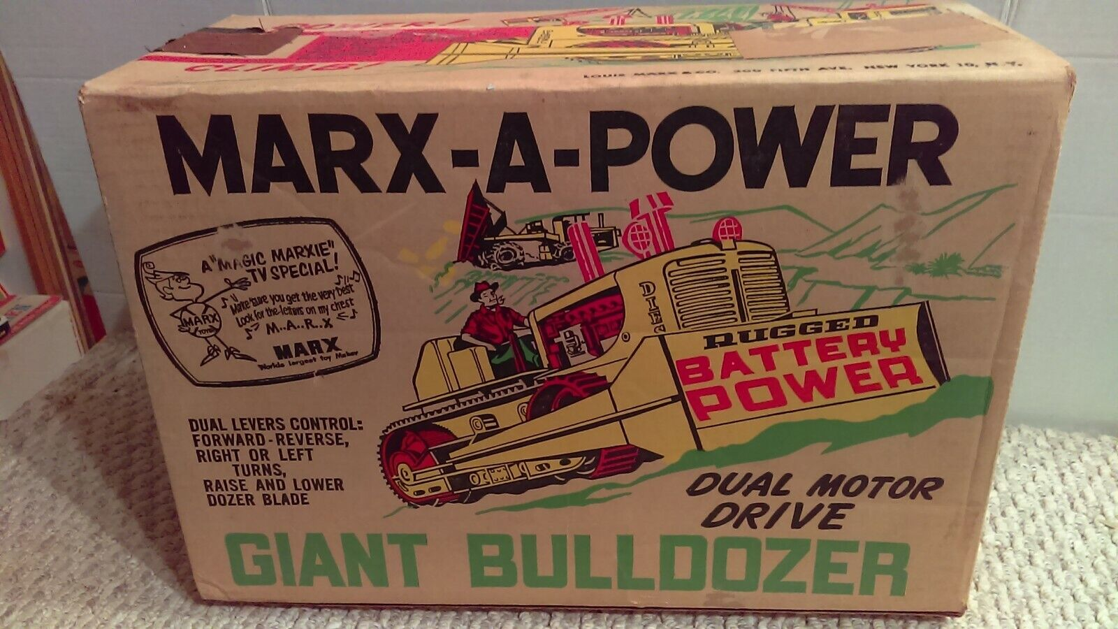 1962 Marx A Power Giant Bulldozer  Box Only  Enhance Your Toy Nice Clean Box