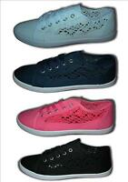 Ladies Girls Flat Lace Up Side Crochet Canvas Pumps Trainers Shoes Sizes 3-8