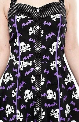 SOURPUSS Dress PEGGY BARE BONES BLACK Bats ROCKABILLY GOTH HALLOWEEN Pinup Punk