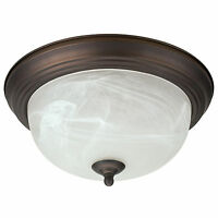 Oil Rubbed Bronze Flush Mount Ceiling Light Fixture 13 Alabaster Glass Shade on sale