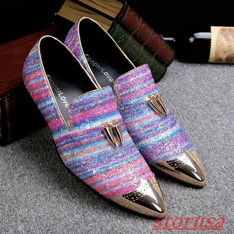 Uomo New Wings Tip Slip On Brogue Shoes Multi Coloed Sequins Loafers Party Shoes