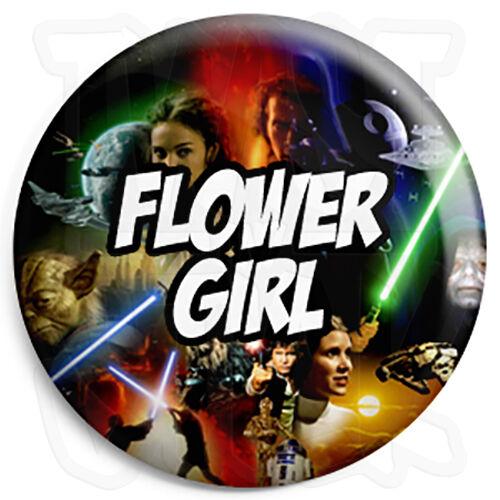 25mm Star Wars Wedding Button Badge with Fridge Magnet Option Flower Girl