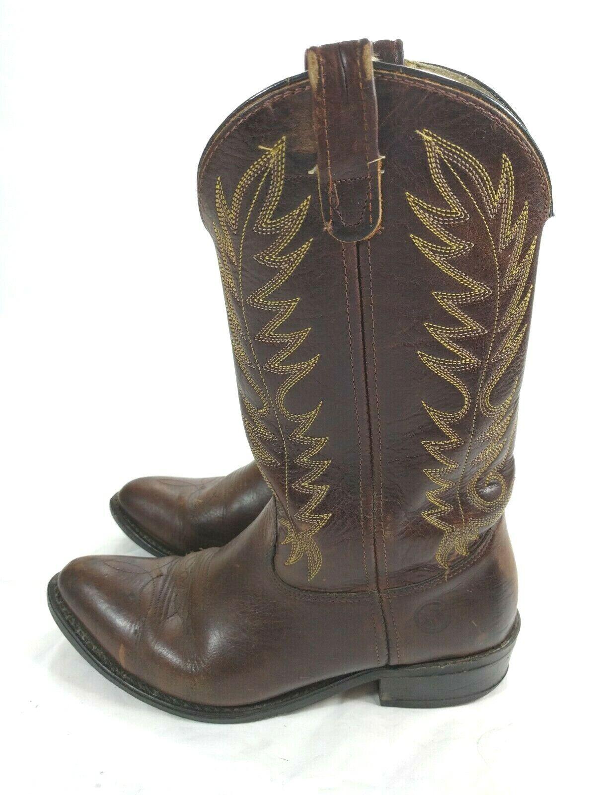 Men's Double H Brand Brown Cowboy Western Work Wear Boots Size 10.5 D 3259