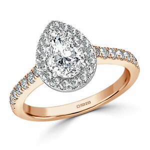 1.60 Ct Pear Cut Genuine Moissanite Wedding Ring 14K Solid Rose Gold Size 4.5