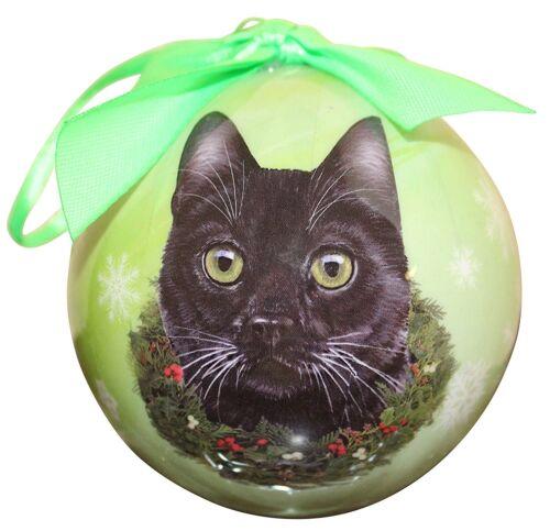 "by E /& S Pets BLACK Cat--Shatterproof Ball Ornament--3/""-"