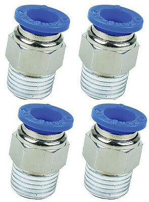 "1/4"" BSP Male to 12mm Pack of 4 Straight Push In Pneumatic Fitting 1/4-12mm Stud"
