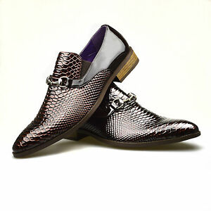 mens leather shoes brown dress snake skin formal casual