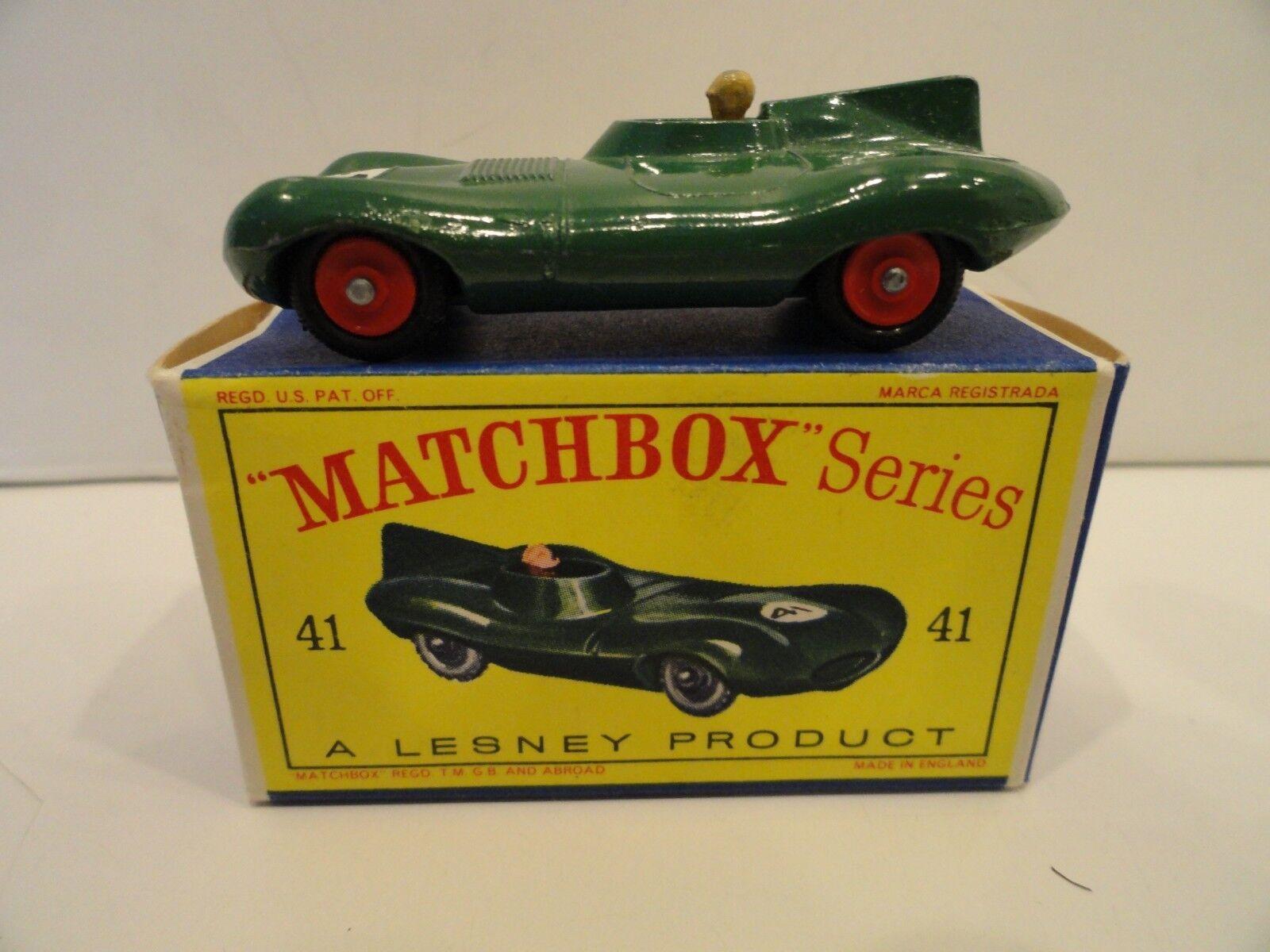 Matchbox Matchbox Matchbox Lesney regular Wheels 41b D-Type Jaguar Rojo Ruedas en Caja 1bc864
