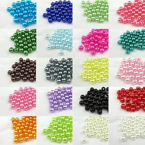4mm-6mm-8mm-Colour-Acrylic-Round-Pearl-Spacer-Loose-Beads-Jewelry-Making