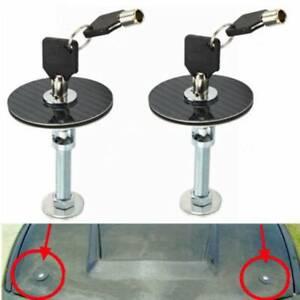 Black RACING Mount Bonnet Carbon Fiber Hood Pins Latch Key Locking Kit BBL2PC001