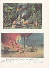 """1974 Vintage Currier & Ives """"BURNING STEAMBOAT ROBERT E. LEE"""" COLOR Lithograph"""