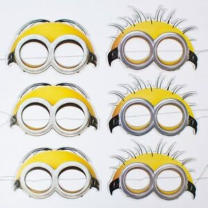 Minions despicable me paper face mask pack of 6 birthday for Minion mask template