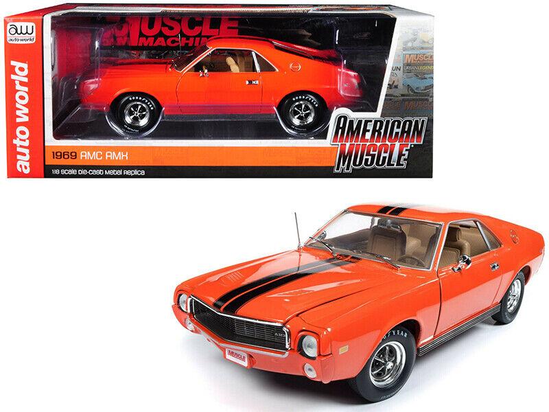Autoworld 1 18 1969 AMC AMX with Stripes Diecast  Model Big Bad Orange AMM1170  les clients d'abord
