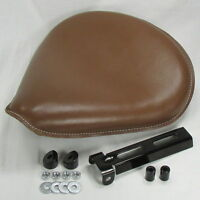 Large Brown Leather Solo Seat Spring Mount Kit Wide Harley Chopper Motorcycle