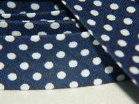 3m Schrägband Nahtband Falzband Einfassband kleine weiße Punkte marine blau