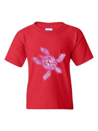 Pink Hawaiian Sea Turtle Ribbon Hawaii Guide Map Honolulu Unisex Youth Shirts