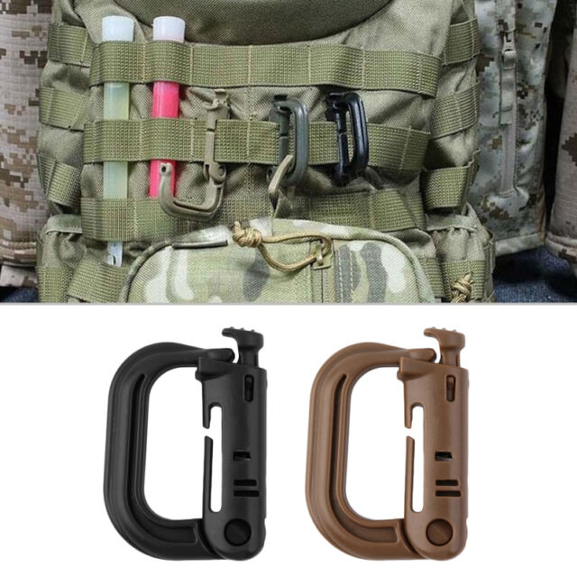 Outdoor Tactical Gear Carabiner Backpack Keychain D-Ring Spring Snap Clip LZ