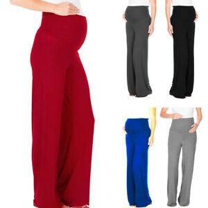 Women-Maternity-Pregnancy-High-Waist-Wide-Leg-Pants-Solid-Long-Straight-Trousers
