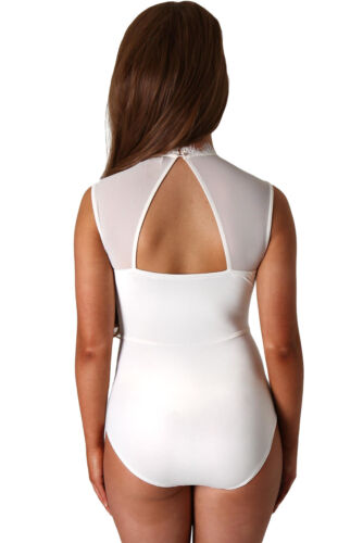 Ladies White Sheer Lace High Neck Cut Out Back Bodysuit Padded Size 8 10 12 14