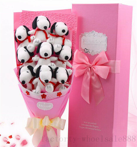 2019 New 9p Pink Snoopy Dog Plush Toys Doll Flower  Valentine'S Day Xmas Gift Us