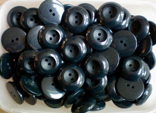 28mm 44L Muy Grande Azul Marino Oscuro Grueso 2 agujero Abrigo Chaqueta Botones W516