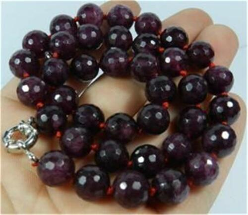 """Rare!10mm Faceted Garnet red gemstone Beads Necklace 18/""""##QF302"""