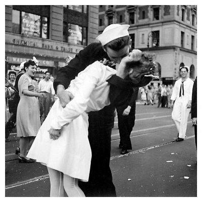 World War II VJ Day Sailor Kissing Girl Nurse Times Square Silver Halide Photo
