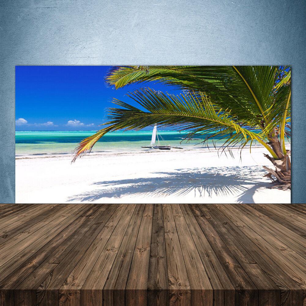 Vidrio Templado Cocina salpicaduras 140x70 Beach Palm Paisaje