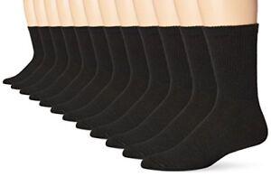 Hanes-Mens-Socks-12-Pack-FreshIQ-Crew-Socks-Black-10-13-Shoe-SZ