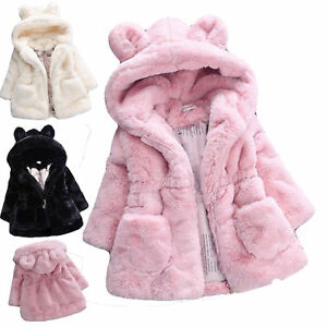 Baby Kids Girls Fleece Jacket Fur Hooded Tops Warm Coat Princess Winter Outwear