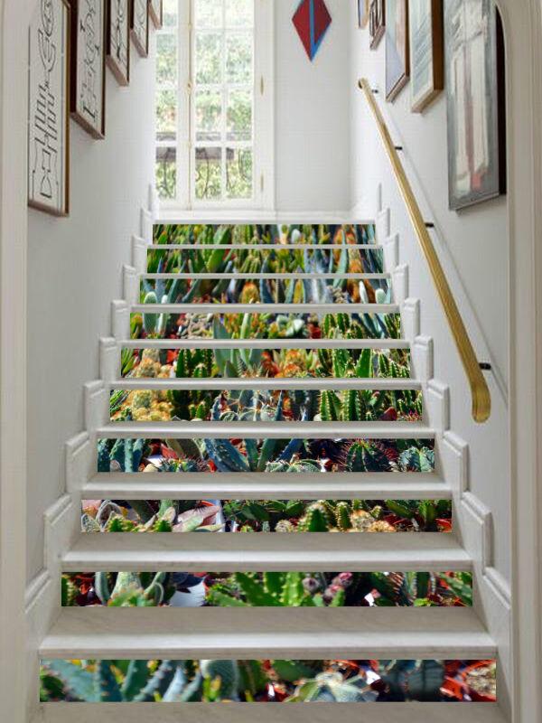 3D Grün Succulents Stair Risers Decoration Photo Mural Vinyl Decal Wallpaper CA