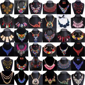Women-Fashion-Crystal-Statement-Choker-Chunky-Pendant-Necklace-Bib-Chain-Jewelry