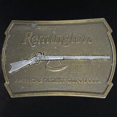 Remington Rifle Shotgun Gun Deer Buck Elk Hunter Hunting Guns 1970s Western Collectible Sid Bell Mens 1970s 1979 NOS Vintage Belt Buckle