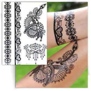 tatouage temporaire noir dentelle bracelet coeur ph m re faux tattoo ebay. Black Bedroom Furniture Sets. Home Design Ideas