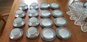 Sango Fine China Platina Pattern Teacups Saucers, Small Plates and Bowls 8 Place