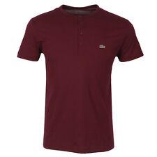 Lacoste Authentic Men's SS Pima Cotton Henley T-Shirt, Burgundy, 5/M, NWT