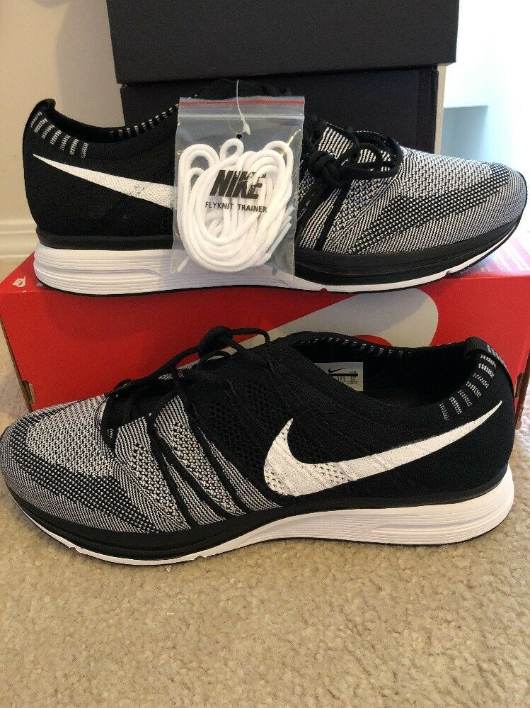 2018 Nike Flyknit Trainer Black White Oreo AH8396-005 Sz 13 In Hand Fast Shippin