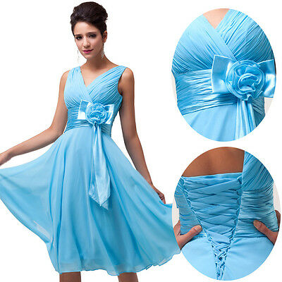 Short Blue Lilac Prom Gown Bridesmaid Evening Party Cocktail Formal Ball Dresses