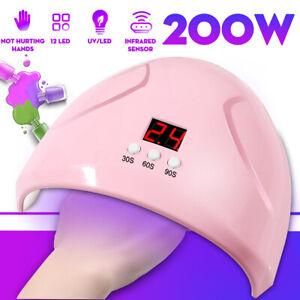 200W-12-LED-UV-FORNETTO-LAMPADA-ASCIUGA-UNGHIE-SMALTO-GEL-RICOSTUZIONE