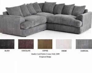 Details about SALE! FERGUSON JUMBO CORD CORNER SOFA SUITE BLACK CREAM  COFFEE GREY BROWN *SALE*
