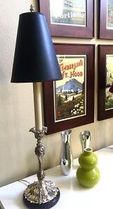 "PEWTER FINISH /""WARWICK/"" OCTAGONAL BRASS ELECTRIC WINDOW CANDLESTICK LAMP"